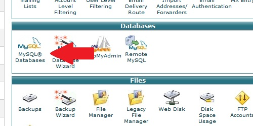 Open the MySQL Databases icon within cPanel.